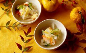 季節によって、ゆず果汁はレモンやかぼすなどに代えて・・!